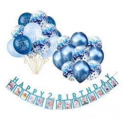Milestone foto banner met Happy 2nd Birthday blauwe letters