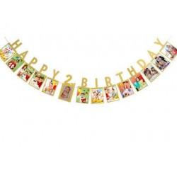 Milestone foto banner met Happy 2nd Birthday goudkleurige letters