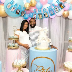 Milestone foto banner Babyshower met blauwe letters