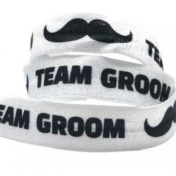 Elastische armband zwart met de tekst Team Groom