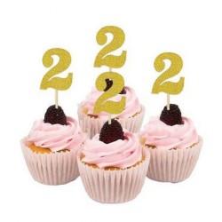 Cupcake toppers 2 jaar goud