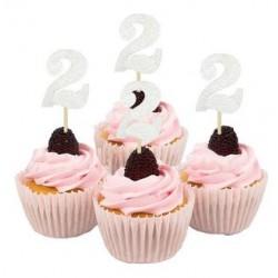 Cupcake toppers 2 jaar zilver