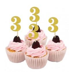 Cupcake toppers 3 jaar goud