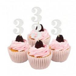 Cupcake toppers 3 jaar zilver