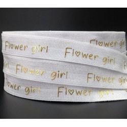 Elastische armband wit met gouden opdruk Flowergirl