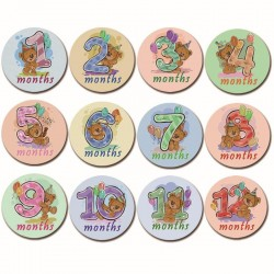Baby Milestone stickers Baby Bear pastel