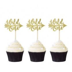 Pak met 10 cupcake toppers Wild One goud