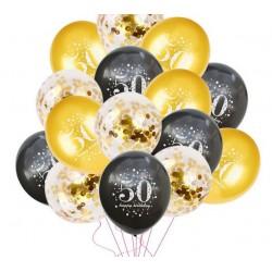 Ballonnen set in de kleuren goud en zwart 50 jaar