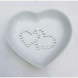 Hartvormig stenen ringenschaaltje Two Hearts strass
