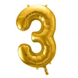 Cijfer folie ballon 3 met een hoogte van 35 of 86 cm goud