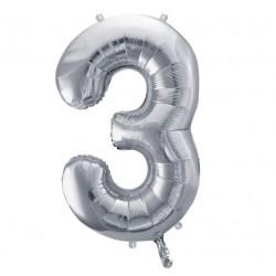 Cijfer folie ballon 3 met een hoogte van 35 of 86 cm zilver