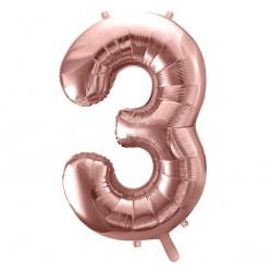 Cijfer folie ballon 3 met een hoogte van 35 of 86 cm rosé goud