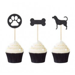 Pak met 12 cupcake toppers Dog Party zwart