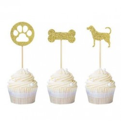Pak met 12 cupcake toppers Dog Party goud
