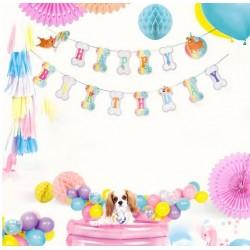 Honden verjaardags slinger in vrolijke pastel tinten