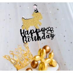 Happy Birthday taart topper voor de hond roze