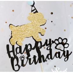 Happy Birthday taart topper voor de hond blauw