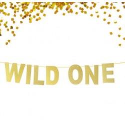 Banner Wild One goud glitter karton
