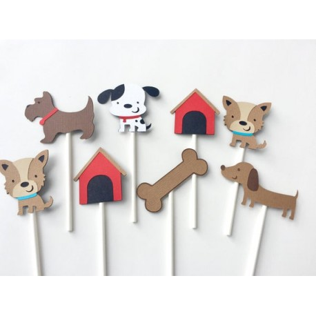 Pak met 12 cupcake toppers Dog Things