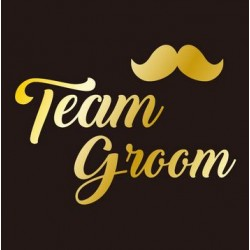 Goudkleurige tatoeage Groom Team moustache
