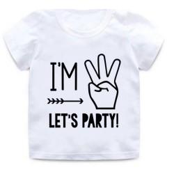 Derde verjaardags t-shirt wit met witte opdruk I'm Three Let's Party