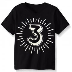 Derde verjaardags t-shirt zwart met witte opdruk