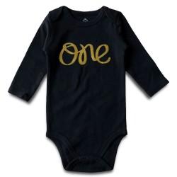 Baby romper met lange mouw wit of zwart met in goud de opdruk One