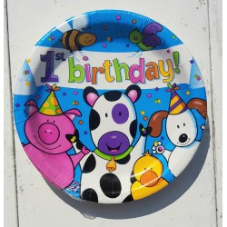 First Birthday Happy Animals kartonnen bordjes