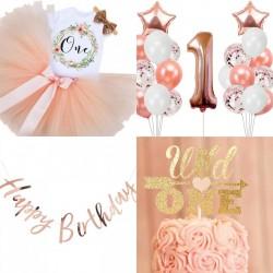 Complete eerste verjaardag kleding- en decoratie set Rosé Gold