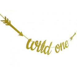 Banner Wild One tribal gold glitter