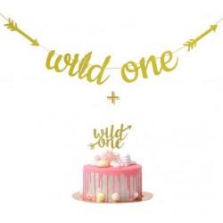 Banner Wild One tribal gold glitter met bijpassende taart topper