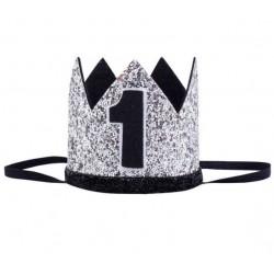 Aandoenlijk glitter hoedje zilver met zwart voor een eerste verjaardag
