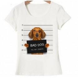 Bad Dog t-shirt wit met gearresteerde teckel