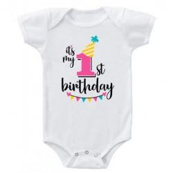 Baby romper Happy Birthday One wit met vrolijk gekleurde opdruk