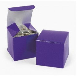 Pak met 12 vierkante paarse kartonnen doosjes
