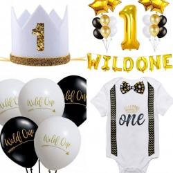 Decoratie en kleding set Black, White and Gold voor de 1e verjaardag van een jongen