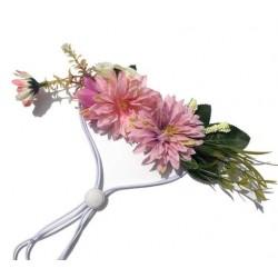 Bloemen band voor honden in grootte verstelbaar pink