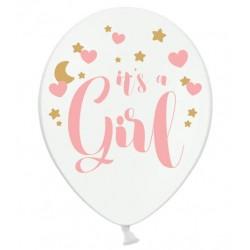 Ballonnen It's a Girl. Wit met roze en gouden opdruk
