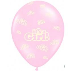 Ballonnen It's a Girl roze met wit