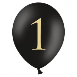 Ballonnen 1 zwart met gouden opdruk