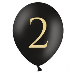 Ballonnen 2 zwart met gouden opdruk