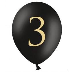 Ballonnen 3 zwart met gouden opdruk