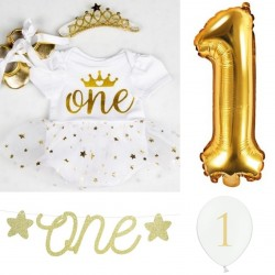 First Birthday kleding en decoratie set Gold and White