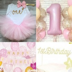 Complete kleding en decoratie set First Birthday Girl