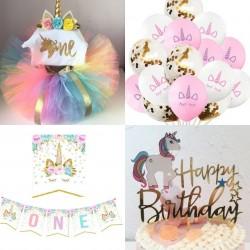 Complete kleding en decoratie set First Birthday Unicorn