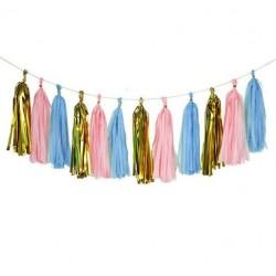 Gender reveal 15-delige DIY tassel set goud, roze en blauw