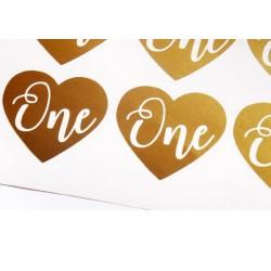 Hartvormige gouden sticker One