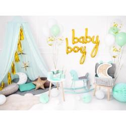 Folie ballon set Baby en Boy in de kleur goud