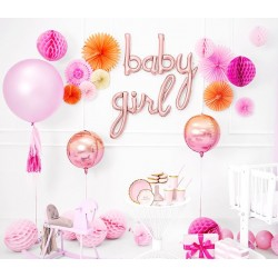 Baby Girl decoratie pakket rosé gold, pink and orange