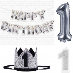 Eerste verjaardags decoratie set Happy Birthday silver